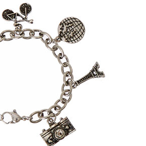 Silver-Tone Travel Themed Charm Bracelet,
