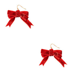Glitter Red Ribbon Bow Drop Earrings,