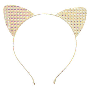 Holographic Quilted Cat Ears Headband,