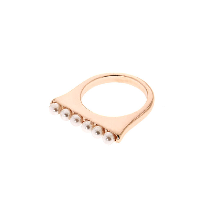 Gold-Tone Square Top Ring with Faux Pearls,