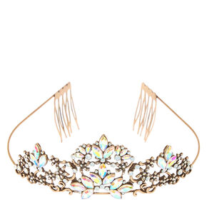 Vintage Style Bronze with Irredescent Stones Tiara,