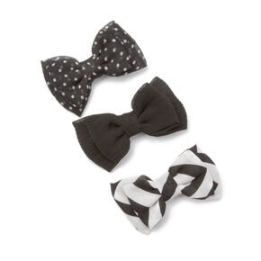Assorted Black Mini Chiffon Double Bow Hair Clips Set of 3,