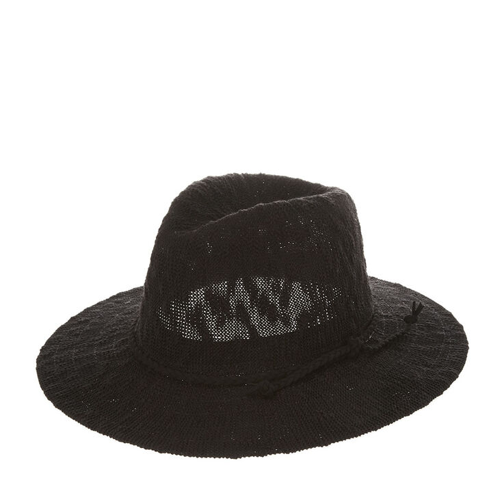 Black Floppy Panama Hat with Braided Suede Trim,
