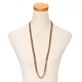 Black and Gold Link Multi Strand Necklace,