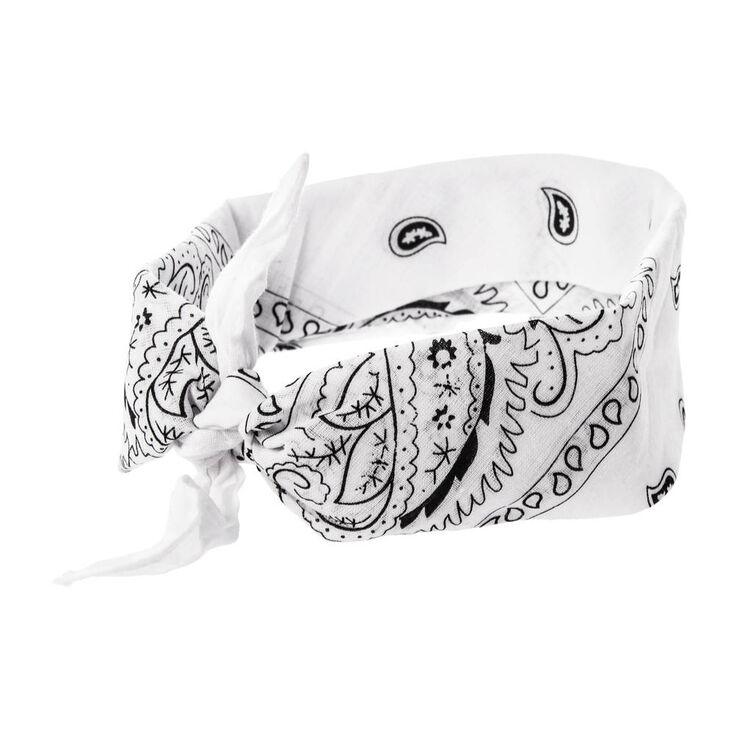 White Bandana 3 Way Headwrap,