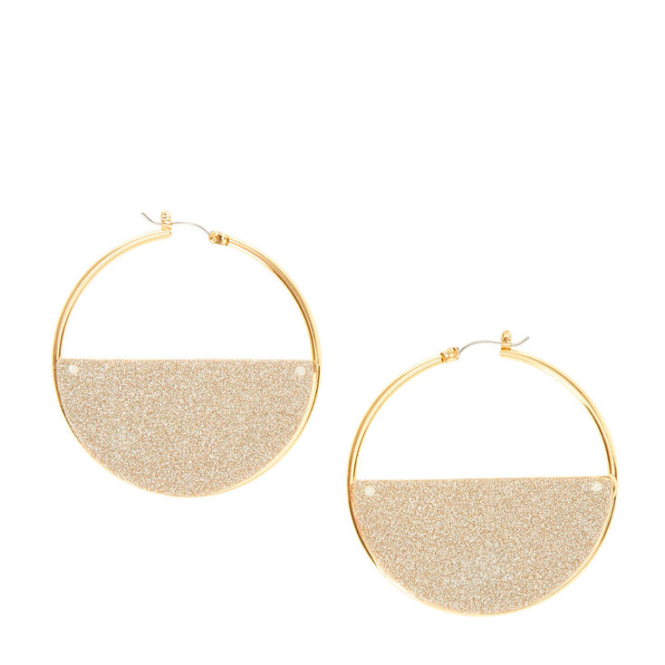 Créoles demi-cercle dorées scintillantes