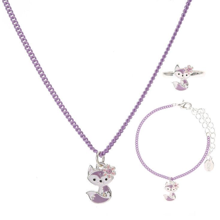 ensemble bijoux renard violet pour enfants claire 39 s fr. Black Bedroom Furniture Sets. Home Design Ideas