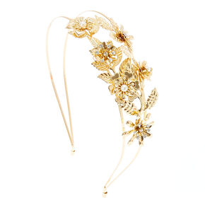 Gold Flowers and Leaves Double Row Headband,