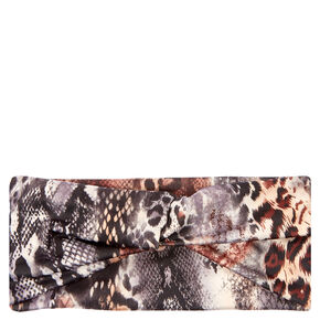 Mixed Animal Print Twist-Front Headwrap,