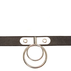 Double Silver-tone Circle Black Faux Leather Choker Necklace,