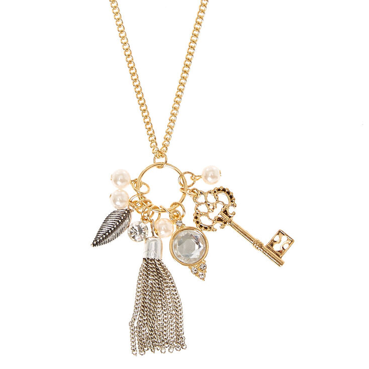 Gold Toned Tassel and Key Cluster Necklace,