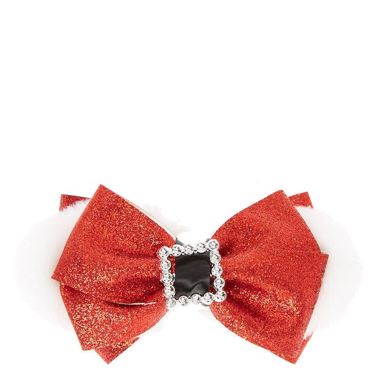 Holiday Santa Belt Buckle Bow Hair Clip,