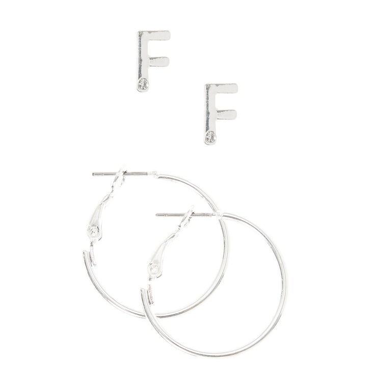 Silver Initial F Stud and Mini Hoop Earrings,