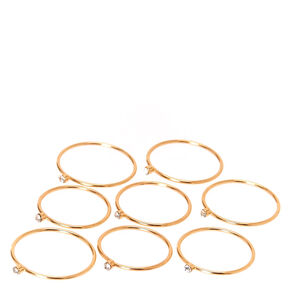 Skinny Gold-tone Crystal Graduated Ring Set,