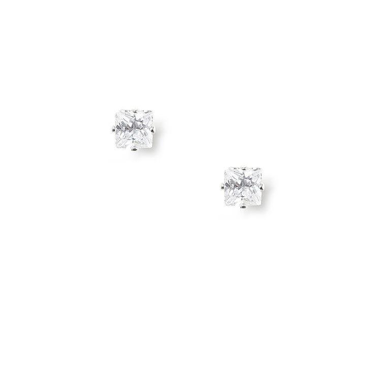 3MM Round Cubic Zirconia Six Prong Set Magnetic Stud Earrings,