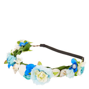 Blue Flower and Seashells Hair Garland,