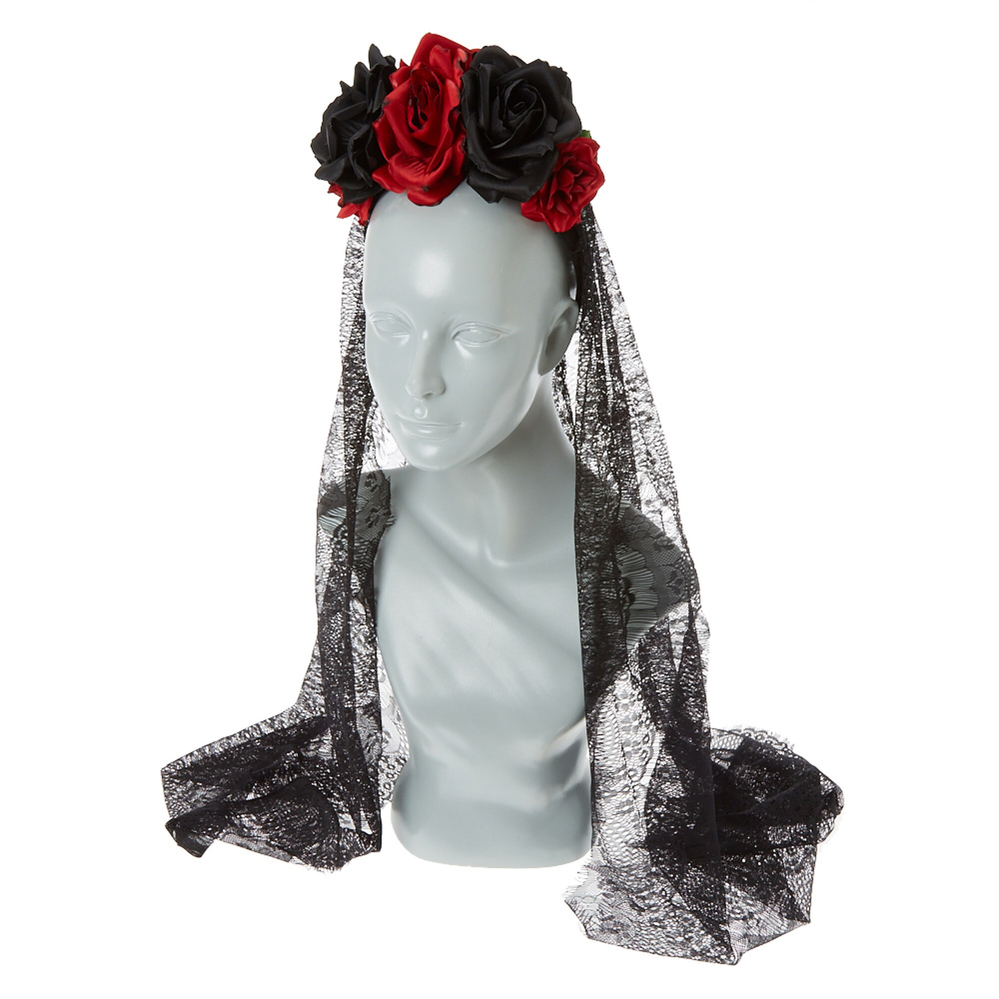 Black And Red Flower Veil Headband Claire S Us