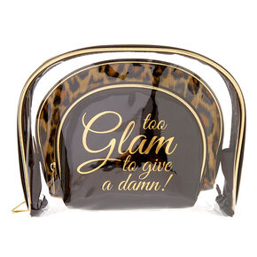 Black, Gold & Leopard Print Glam Makeup Bag Trio Set,