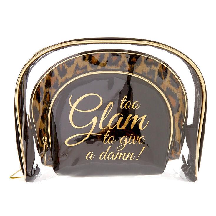 Black, Gold & Leopard Print Glam Makeup Bag Trio Set,