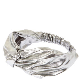 Silver Metallic Turban Headwrap,