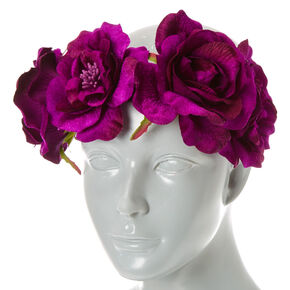 Purple Velvet Flower Crown Headwrap,