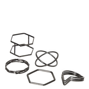 Multi-size 5-pack Geometric Rings,