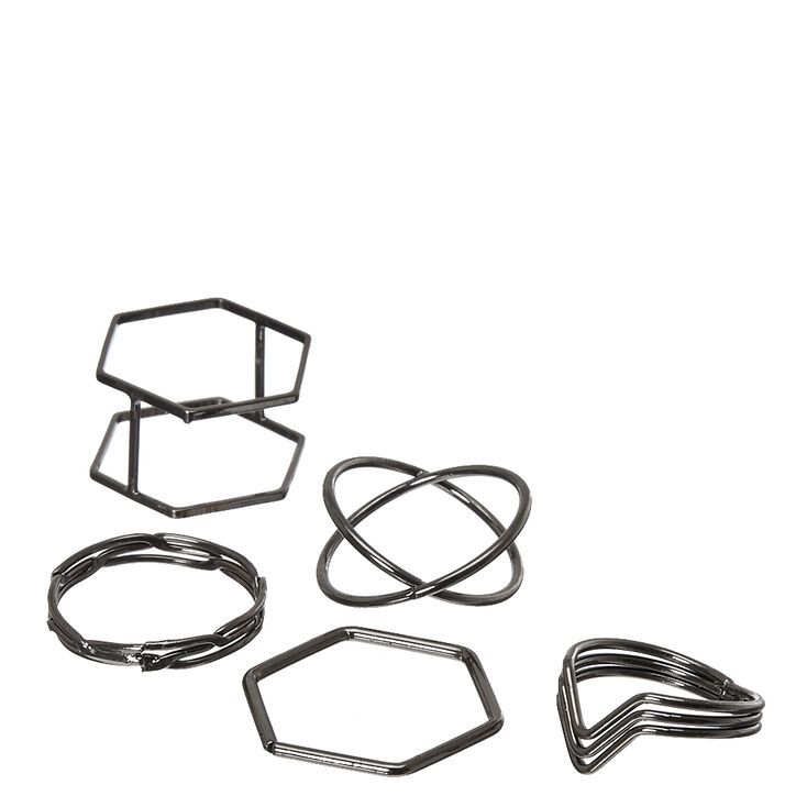 5 Pack Black Geometric Rings,