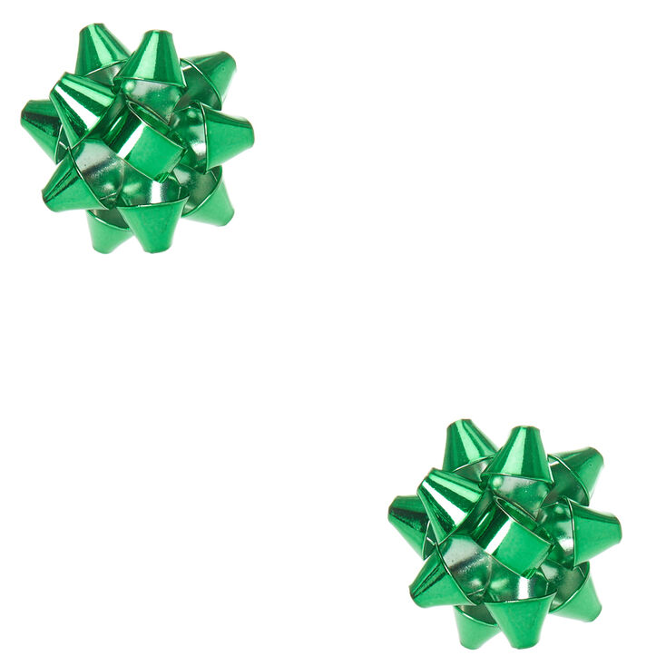 Green Christmas Foiled Bow Stud Earrings,