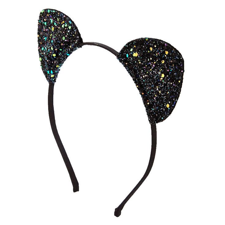 Black Glitter Cat Ears Headband,