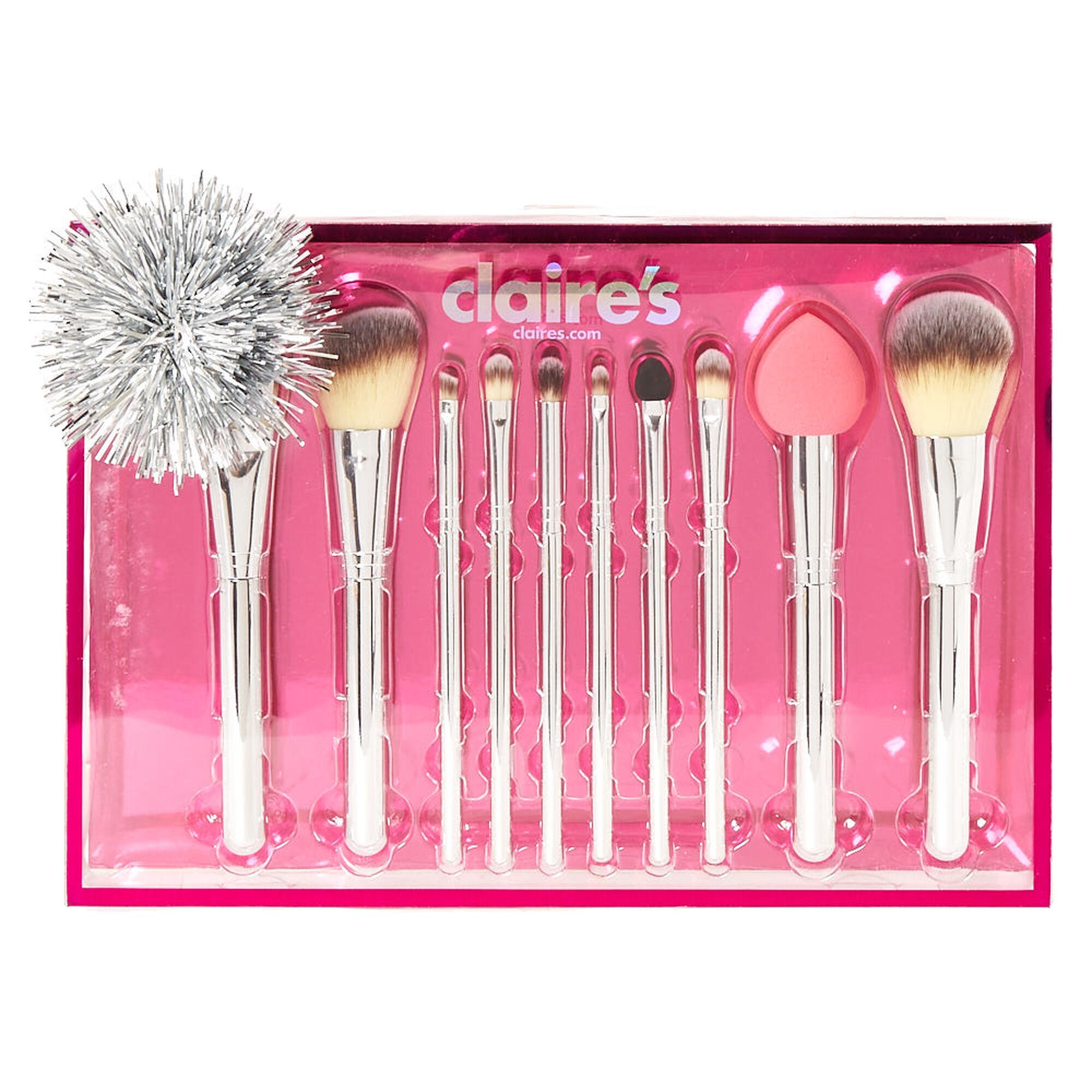 cosmetic brush set. chrome silver 10 piece makeup brush set, cosmetic set