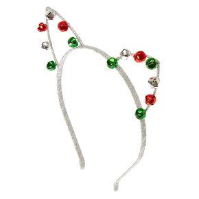 Silver Holiday Jingle Bells Cat Ears,