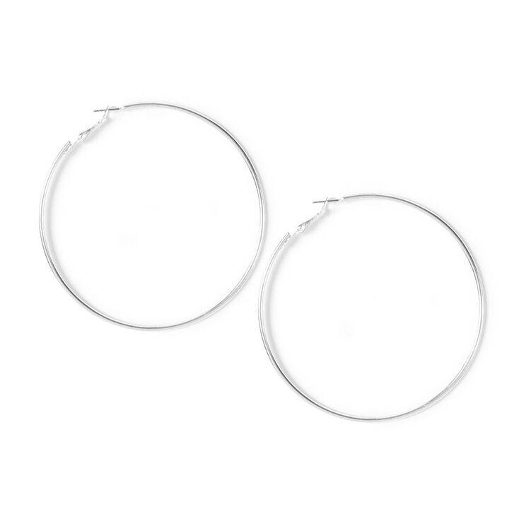 80MM Silver Hoop Earrings,