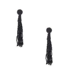 Knotted Black Bead Fringe Drop Earrings,