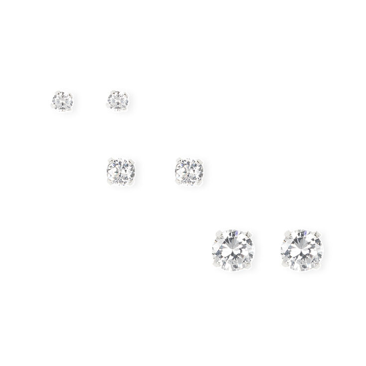 3MM, 4MM and 6MM Cubic Zirconia Round Martini Set Stud Earrings Set of 3,