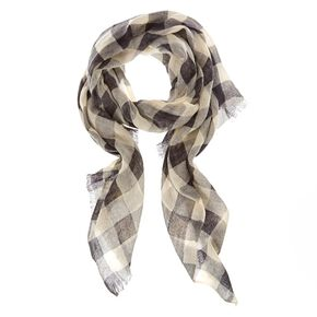 Black and White Checkered Knit Scarf,