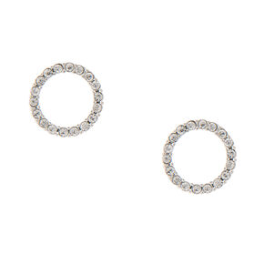 Crystal Circle Stud Earrings,