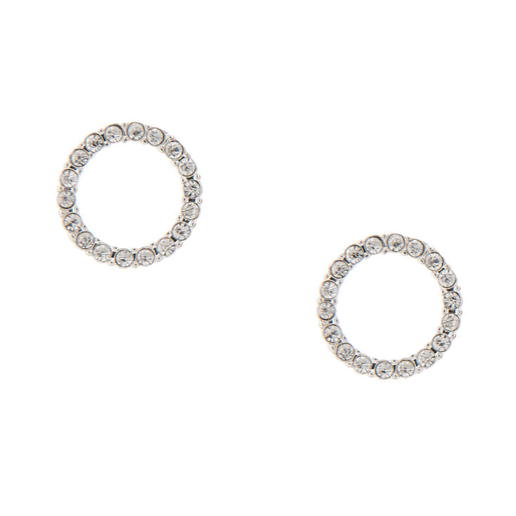 Crystal Circle Stud Earrings,