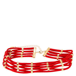 Woven Red Suede Choker with Gold Hexagon Beads,