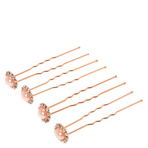 Rose Gold Halo Pearl Chignon Pins Set of 4,