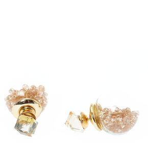 Tinted Gold Cube and Shaker Bead Front and Back Earrings,