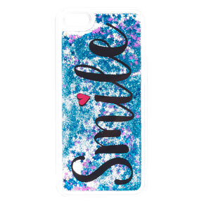 Blue Glitter Smile Liquid Fill Phone Case