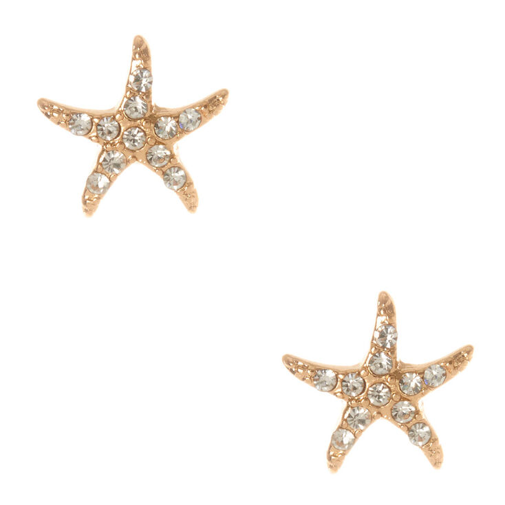 Gold and Crystals Starfish Stud Earrings,