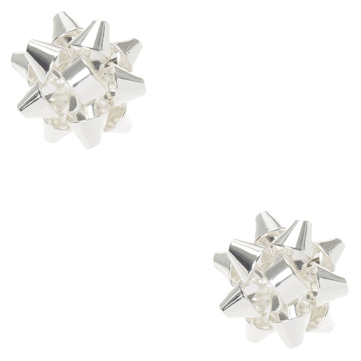 Silver Christmas Foil Bow Stud Earrings,