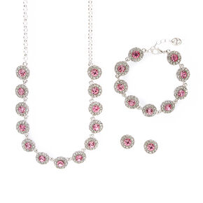 Pavé Rhinestone and Pink Crystal Circles Statement Necklace, Bracelet and Stud Earrings Set,