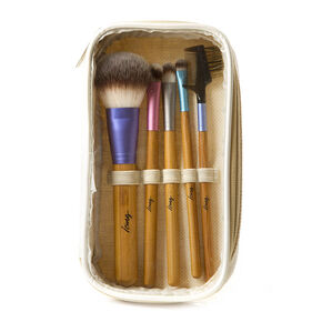 Pastel Metallic and Bamboo Makeup Brush Set of 5,
