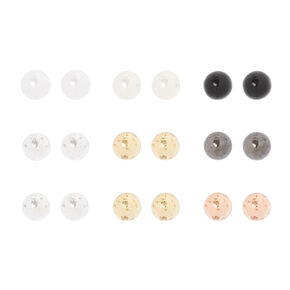 4MM Pearl and Mixed Metal Ball Stud Earrings Set of 9,