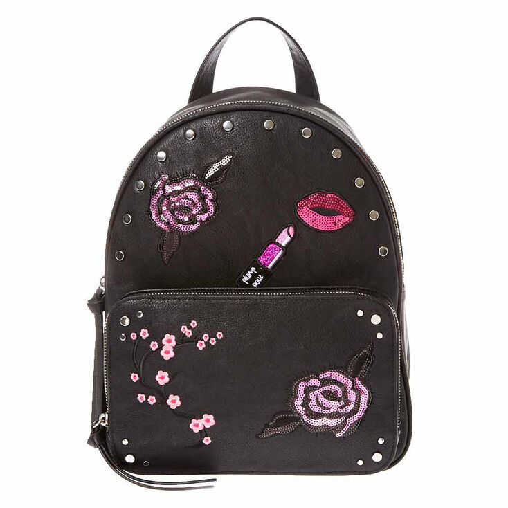 Black Faux Leather Floral Backpack,