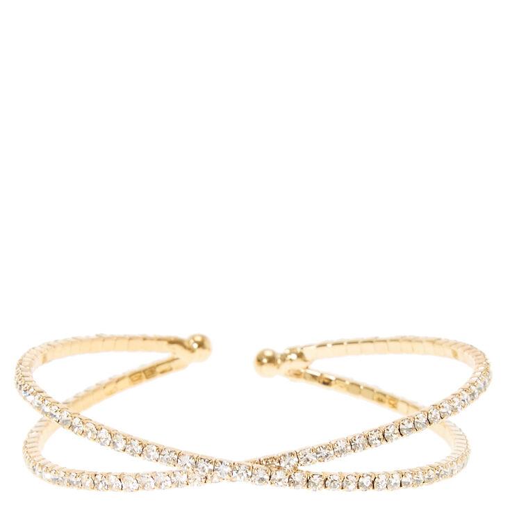 Gold Rhinestone Criss Cross Bracelet,
