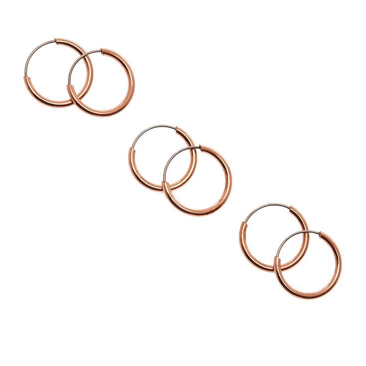 10mm Rose Gold-tone Skinny Hoop Earrings,