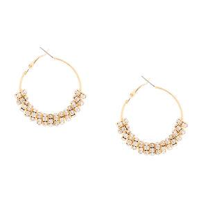 80MM Gold and Crystal Eternity Ring Hoop Earrings,